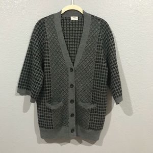 Wallace Madewell Grey Checkered Button Up Cardigan